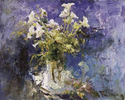 Tuman Zhumabaev - Floral on Blue