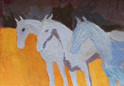 Larisa Aukon: Selected Sold Works - Three Blue Horses