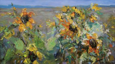Tuman Zhumabaev - Sunflowers in the Field